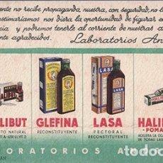 Coleccionismo Papel secante: PAPEL SECANTE PUBLICIDAD LABORATORIOS ANDROMACO, BARCELONA. TAMAÑO: 18,5 X 10CM. PASECA-247. Lote 178943690