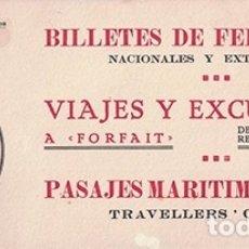 Coleccionismo Papel secante: PAPEL SECANTE PUBLICIDAD VIAJES HISPANIA, BILLETES DE FERROCARRIL. TAMAÑO: 25 X 10,5CM. PASECA-251. Lote 178945196