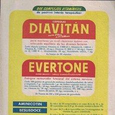 Coleccionismo Papel secante: PAPEL SECANTE PUBLICIDAD CAPSULAS DIAVITAN. EVERTONE. LAB. DR. ANDREU. TAMAÑO: 21X14,5CM. PASECA-254. Lote 178945695