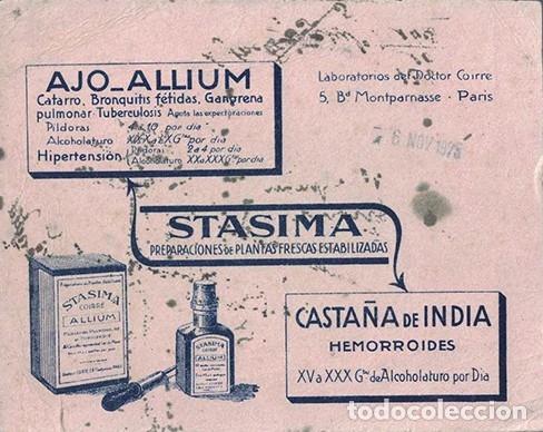 PAPEL SECANTE PUBLICIDAD AJO-ALLIUM - STASIMA. LAB. DOCTOR COIRRE. TAMAÑO: 16 X12,5CM. PASECA-272 (Coleccionismo - Papel Secante)