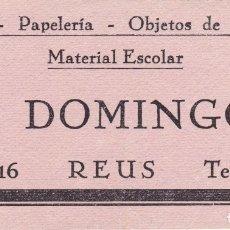 Coleccionismo Papel secante: J. DOMINGO REUS TARRAGONA LIBRERÍA PAPELERÍA OBJETOS DE ESCRITORIO MATERIAL ESCOLAR. Lote 180006317