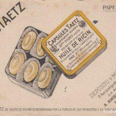 Collectionnisme Papier buvard: CAPSULAS TAETZ. ACEITE DE RICINO. Lote 180848723