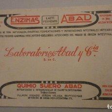 Coleccionismo Papel secante: ANTIGUO PAPEL SECANTE PUBLICITARIO.ENZIMAS ABAD. LABORATORIOS ABAD Y CIA.. Lote 181614343