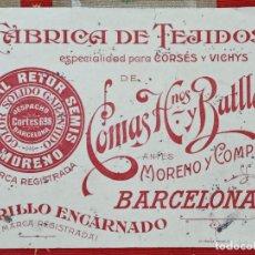 Coleccionismo Papel secante: RARO PAPEL SECANTE FABRICA DE TEJIDOS COMAS HERMANOS Y BATLLORI BARCELONA. Lote 183978412