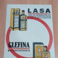 Coleccionismo Papel secante: PAPEL SECANTE LASA, GLEFINA. PRODUCTOS LABORATORIOS ANDROMACO. Lote 184076295