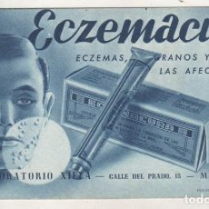 Coleccionismo Papel secante: PAPEL SECANTE. PUBLICIDAD FARMACIA. ECZEMACUR LABORATORIOS XIELA. MADRID. GRANOS Y AFECCIONES PIEL.. Lote 185892123