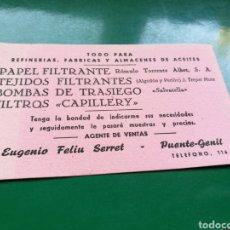 Coleccionismo Papel secante: ANTIGUO PAPEL SECANTE. TEJIDOS, PAPEL Y FILTROS RÓMULO TORRES ALBERT. AGENTE PUENTE GENIL (CÓRDOBA). Lote 186142586