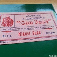 Coleccionismo Papel secante: ANTIGUO PAPEL SECANTE. AZAFRANES Y CONDIMENTOS SAN JOSÉ. MIGUEL SUÑE. BORJA (ZARAGOZA). Lote 186142938