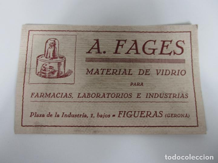 Coleccionismo Papel secante: Papel Secante - Publicidad A. Fages, Material de Vidrio Farmacias, Laboratorios -Figueras (Figueres) - Foto 2 - 189617485