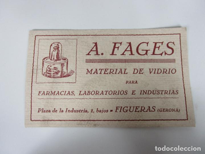 PAPEL SECANTE - PUBLICIDAD A. FAGES, MATERIAL DE VIDRIO FARMACIAS, LABORATORIOS -FIGUERAS (FIGUERES) (Coleccionismo - Papel Secante)