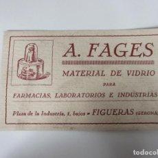 Coleccionismo Papel secante: PAPEL SECANTE - PUBLICIDAD A. FAGES, MATERIAL DE VIDRIO FARMACIAS, LABORATORIOS -FIGUERAS (FIGUERES). Lote 189617485