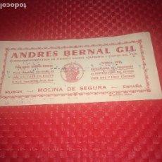 Collectionnisme Papier buvard: ANDRES BERNAL GIL - MOLINA DE SEGURA ( MURCIA ) - AÑOS 40 - PAPEL SECANTE - EXPORTADOR. Lote 191204752