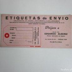 Coleccionismo Papel secante: PAPEL SECANTE - PUBLICIDAD ETIQUETAS DE ENVÍO , HIJO DE EDUARDO ALBENIZ, PAMPLONA. Lote 193391436