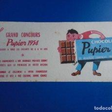 Coleccionismo Papel secante: SECANTE CHOCOLAT PUPIER 1954. Lote 193853845