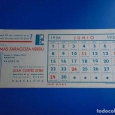 Coleccionismo Papel secante: SECANTE TOMAS ZARAGOZA VERDU DE VALENCIA EXPORTACION DE FRUTA CALENDARIO JUNIO 1936. Lote 193854107