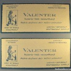 Coleccionismo Papel secante: DOS SECANTES PUBLICITARIOS DE VALENTER RECONSTITUYENTE. AÑOS 20. EN CATALÁN. NUEVOS. Lote 193997241