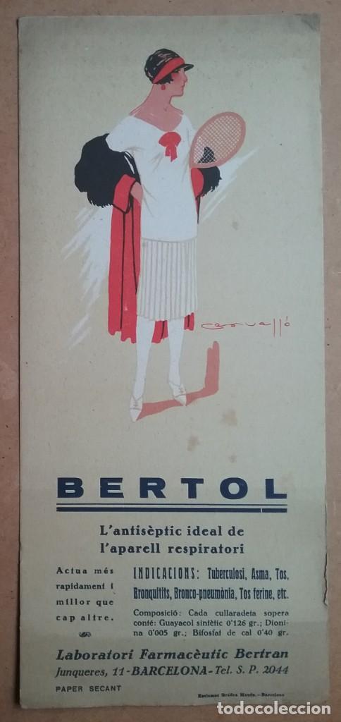 PAPEL SECANTE PUBLICIDAD ANTISÈPTIC BERTOL LABORATORI FARMACÈUTIC BERTRAN AÑOS '30 (Coleccionismo - Papel Secante)