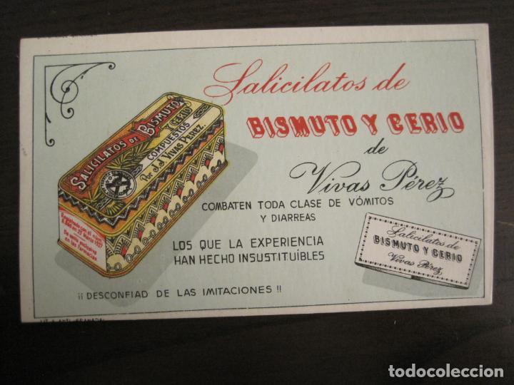 SALICILATOS DE BISMUTO Y CERIO DE VIVAS PEREZ-PAPEL SECANTE CON PUBLICIDAD-VER FOTOS-(V-19.066) (Coleccionismo - Papel Secante)
