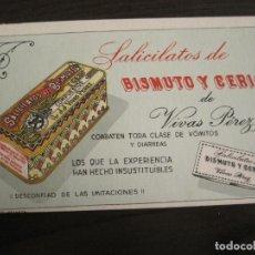 Coleccionismo Papel secante: SALICILATOS DE BISMUTO Y CERIO DE VIVAS PEREZ-PAPEL SECANTE CON PUBLICIDAD-VER FOTOS-(V-19.066). Lote 194338498