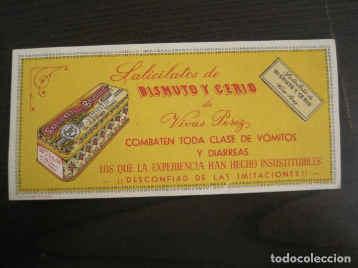 Coleccionismo Papel secante: SALICILATOS DE BISMUTO Y CERIO DE VIVAS PEREZ-PAPEL SECANTE CON PUBLICIDAD-VER FOTOS-(V-19.067) - Foto 2 - 194338615