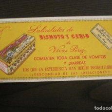 Coleccionismo Papel secante: SALICILATOS DE BISMUTO Y CERIO DE VIVAS PEREZ-PAPEL SECANTE CON PUBLICIDAD-VER FOTOS-(V-19.067). Lote 194338615