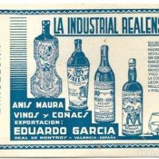 Coleccionismo Papel secante: SECANTE SIN USO LA INDUSTRIA REALENSE, ANIS MAURA, VINOS Y COÑACS - REAL DE MONTROY (VALENCIA). Lote 194545962