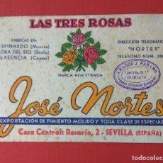Coleccionismo Papel secante: PAPEL SECANTE PUBLICIDAD PIMENTÓN LAS TRES ROSAS, JOSÉ NORTES. Lote 194578610