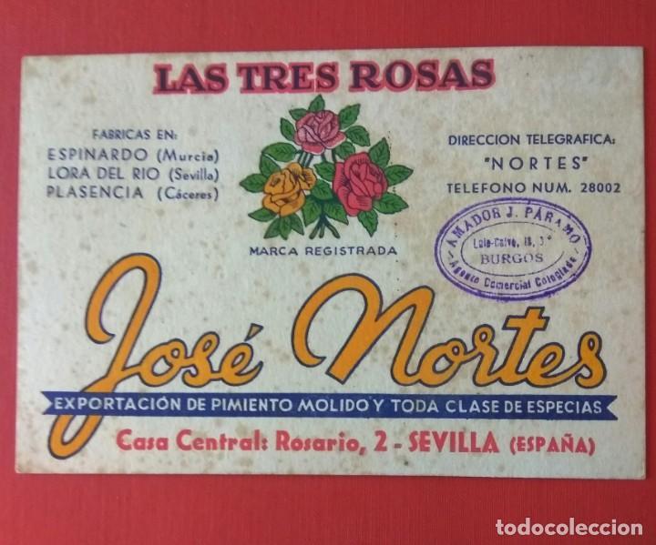 Coleccionismo Papel secante: PAPEL SECANTE PUBLICIDAD PIMENTÓN LAS TRES ROSAS, JOSÉ NORTES - Foto 2 - 194578610