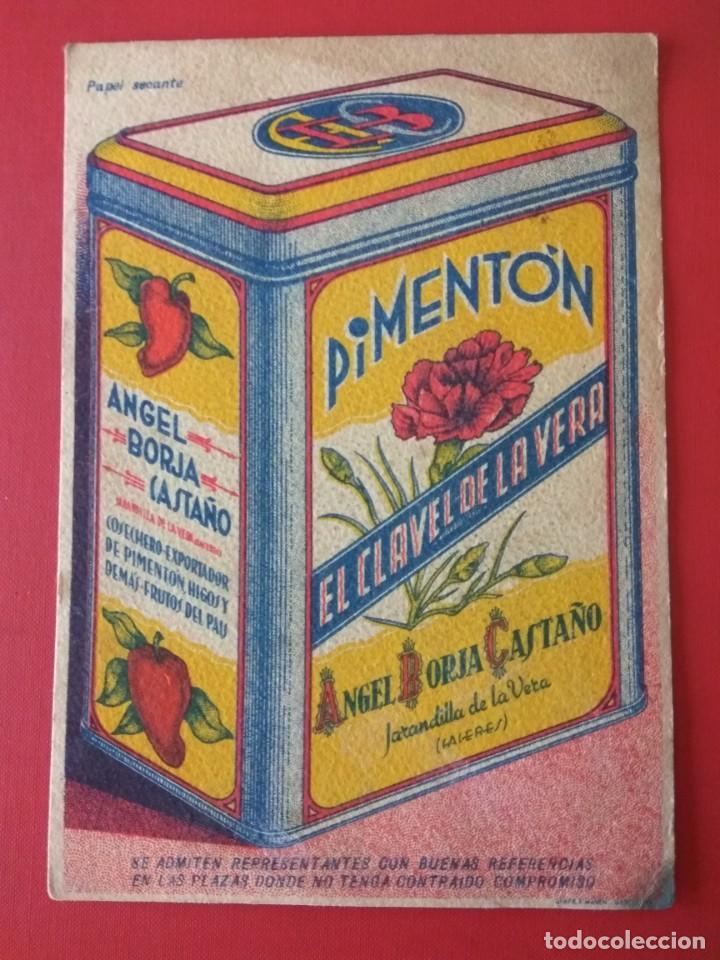 Coleccionismo Papel secante: PAPEL SECANTE PUBLICIDAD PIMENTÓN EL CLAVEL DE LA VERA - Foto 2 - 194579728
