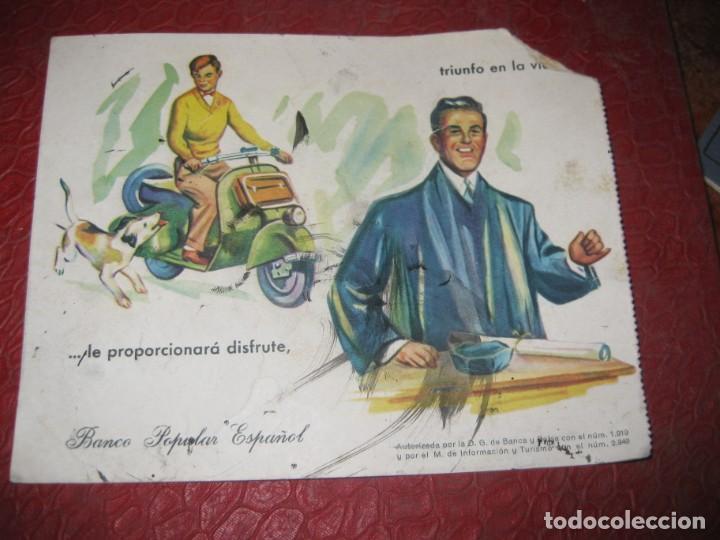 BONITO PAPEL SECANTE BANCO POPULAR ESPAÑOL , CON MOTOTIPO VESPA . USADO (Coleccionismo - Papel Secante)