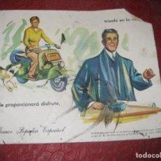 Coleccionismo Papel secante: BONITO PAPEL SECANTE BANCO POPULAR ESPAÑOL , CON MOTOTIPO VESPA . USADO. Lote 194689780