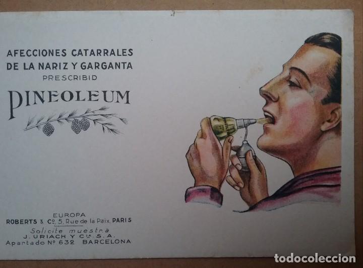 Coleccionismo Papel secante: PAPEL SECANTE PUBLICIDAD PINEOLEUM LABORATORIO J. URIACH AÑOS 30 - Foto 2 - 195121706