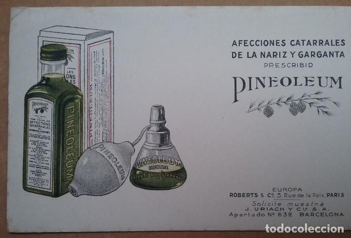 Coleccionismo Papel secante: PAPEL SECANTE PUBLICIDAD PINEOLEUM LABORATORIO J. URIACH AÑOS 30 - Foto 3 - 195121706