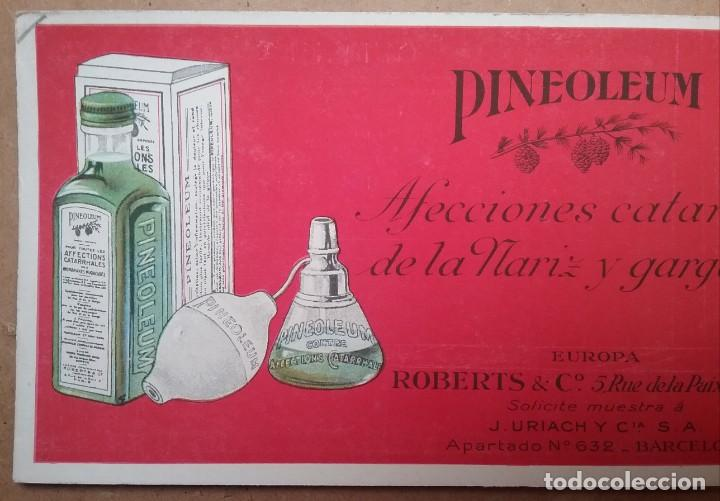 Coleccionismo Papel secante: PAPEL SECANTE PUBLICIDAD PINEOLEUM LABORATORIO J. URIACH AÑOS 30 - Foto 2 - 195121788