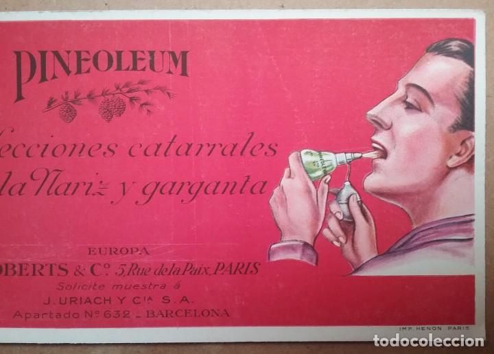 Coleccionismo Papel secante: PAPEL SECANTE PUBLICIDAD PINEOLEUM LABORATORIO J. URIACH AÑOS 30 - Foto 3 - 195121788
