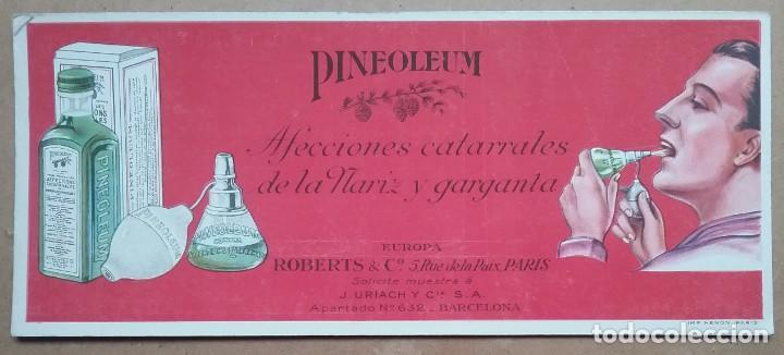 PAPEL SECANTE PUBLICIDAD PINEOLEUM LABORATORIO J. URIACH AÑOS '30 (Coleccionismo - Papel Secante)