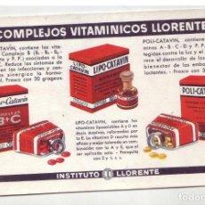 Coleccionismo Papel secante: COMPLEJOS VITAMINICOS LLORENTE - ANTIGUO PAPEL SECANTE - AÑOS 60. Lote 195418712