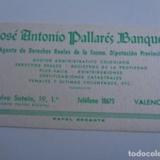 Coleccionismo Papel secante: VALENCIA. JOSE ANTONIO PALLARÉS BLANQUELLS. AGENTE. . Lote 195793077