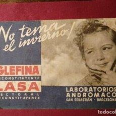 Coleccionismo Papel secante: PAPEL SECANTE GLEFINA LASA - LABORATORIOS ANDRÓMACO- SAN SEBASTIÁN BARCELONA. Lote 196662631
