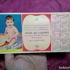 Coleccionismo Papel secante: SECANTE PUBLICIDAD AGUA DEL CARMEN PP. CARMELITAS DESCALZOS DE TARRAGONA CALENDARIO 1957 DIFICIL. Lote 226762245