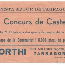 Collezionismo Carta assorbente: I CONCURS DE CASTELLS - CASTELLERS - COPA GENERALITAT - FESTA MAJOR DE TARRAGONA - 15 X 10,5 CM.. Lote 198555647
