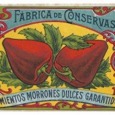 Collezionismo Carta assorbente: LLEIDA / LÉRIDA - CONSERVAS VEGETALES H. AGELET & CIA - EXPOSICIÓN 1929 - PIMIENTOS MORRONES. Lote 198754025