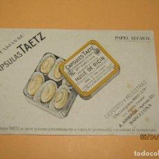 Collectionnisme Papier buvard: ANTIGUO PAPEL SECANTE PUBLICIDAD DE CÁPSULAS TAETZ. Lote 199768432