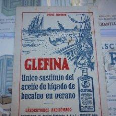 Collezionismo Carta assorbente: GLEFINA. SUSTITUTO ACEITE BACALAO EN VERANO. AÑOS 50. PAPEL SECANTE. SIN USO. 9 X 14 CM.. Lote 199833413