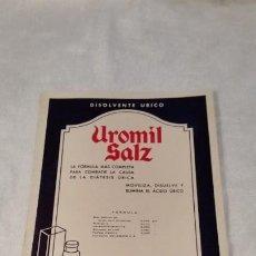 Coleccionismo Papel secante: ANTIGUO PAPEL SECANTE DISOLVENTE ÚRICO UROMIL SALZ. Lote 201192160
