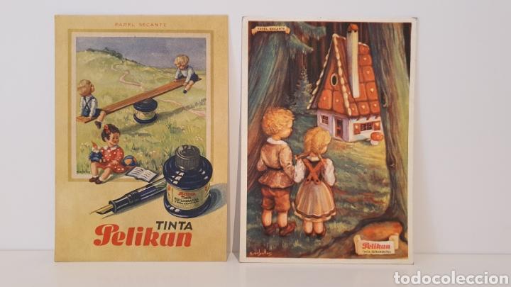 LOTE 2 TARJETAS DE PAPEL SECANTE PELIKAN/ 13×9 / ORIGINAL DE ÉPOCA. (Coleccionismo - Papel Secante)