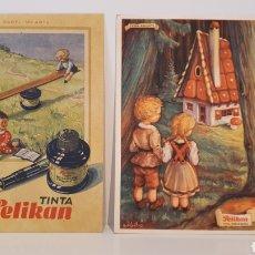 Coleccionismo Papel secante: LOTE 2 TARJETAS DE PAPEL SECANTE PELIKAN/ 13×9 / ORIGINAL DE ÉPOCA.. Lote 203809710