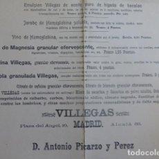 Coleccionismo Papel secante: MADRID SECANTE PUBLICIDDAD EMULSIÓN VILLEGAS MADRID HACIA 1890. Lote 205133231