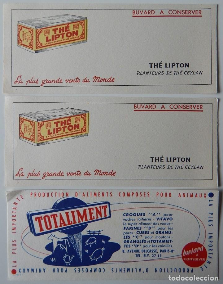 Coleccionismo Papel secante: 15 Secantes antiguos (14 franceses y 1 español - Tema: alimentación - Thé Lipton - Liebig - Chocolat - Foto 2 - 205246468
