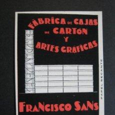 Coleccionismo Papel secante: PAPEL SECANTE-BARCELONA-FABRICA CAJAS CARTON & ARTES GRAFICAS FRANCISCO SANS-VER FOTOS-(70.520). Lote 205315770